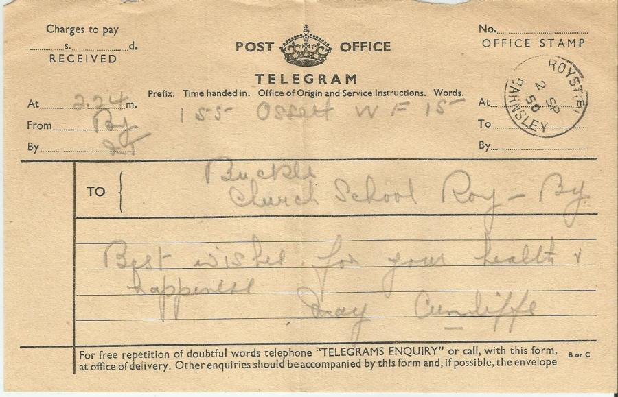 wedding telegram 1950